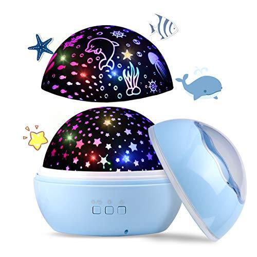 Upgrow LED Sternenhimmel Projektor, Baby Nachtlicht, 2 in 1 Ozeanwelt Projektionslampe mit USB Kabel,...