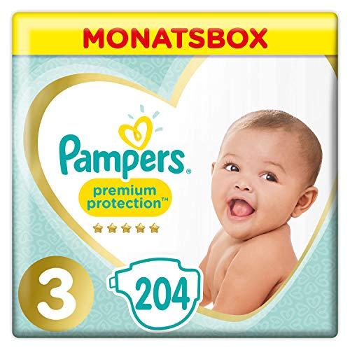 Pampers Größe 3 Premium Protection Baby Windeln, 204 Stück, MONATSBOX, Weichster Komfort Und Schutz...