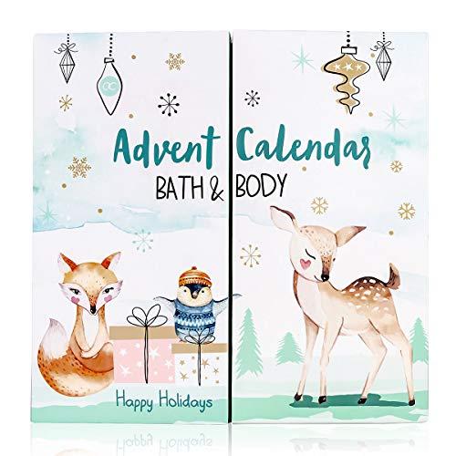accentra Adventskalender Happy Holidays 2020 für Mädchen mit 24 Bade-, Körperpflege und Accessoires...