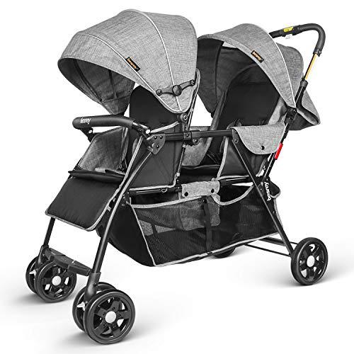 Besrey Geschwisterwagen Doppel-Kinderwagen für Zwillinge oder Geschwister. Mit Regenschutz. Von Geburt bis 3...