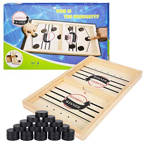 Herefun Tisch Hockey Spielzeug, Interaktive 2in1 Eltern-Kind Interaktion Katapult Brettspiel Tischhockey Holz,...