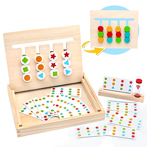 MontessoriSpielzeug Holz Puzzle Sortierbox Kinder Lernspielzeug mit Sanduhr ab 3 4 5 Jahre alte Jungen und...