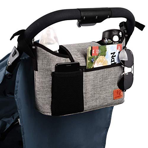 Kinderwagen-Organizer, universelle Kinderwagen-Aufbewahrungstasche mit 2 isolierten Getränkehaltern und...