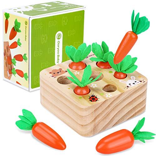 Montessori Holzpuzzle Sortieren Karottenernte Lernspielzeug Baby Motor Skills Spiel Happy Farm Holzspielzeug...