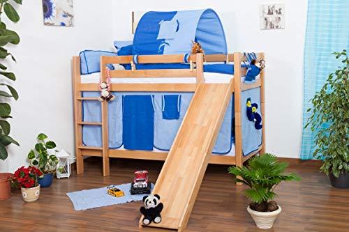Kinderbett Etagenbett Jonas Buche Vollholz natur massiv mit Rutsche inkl. Rollrost - 90 x 200 cm, teilbar,...