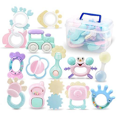 14 Pack Rassel Beißring Set Baby Spielzeug Shaker Greifen Rassel Baby Kleinkind Neugeborenen Spielzeug Frühe...