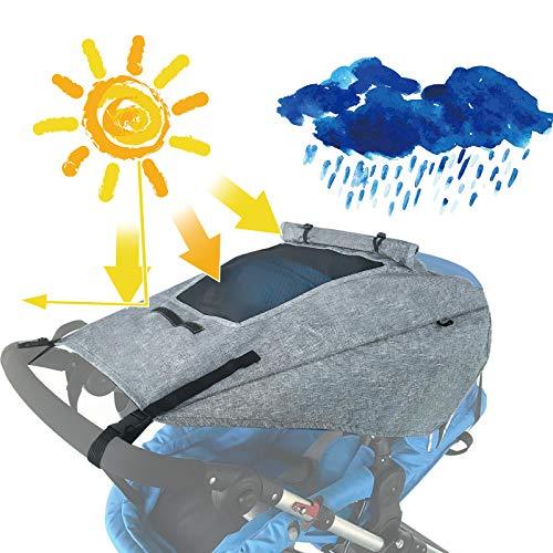 Universal-Sonnenschutz für Kinderwagen mit aufrollbarem Netzfenster, Verdunklungsabdeckung mit verstellbarem...