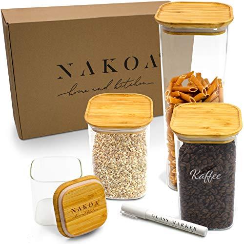 NAKOA Vorratsdosen Glas Vorratsgläser Set – Glasbehälter mit Deckel 4 STK 0,8/1,1/1,4/2,2 L inkl. gratis...