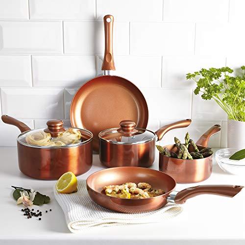 Urbn-Chef Kupfer-Kochgeschirr-Set, 5-teilig, Topfset mit Töpfen und Bratpfannen