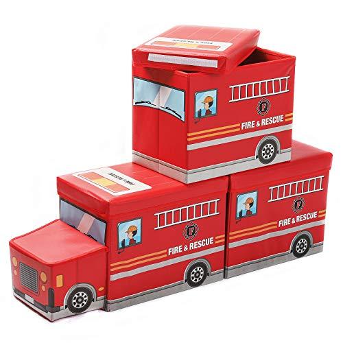 Yorbay 3er Set Kinder Aufbewahrungsbox Spielzeugkiste mit deckel hocker Sitztruhe Sitzbank mit stauraum für...