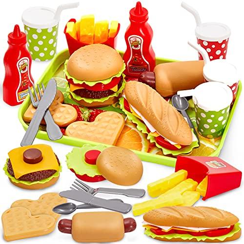 Buyger Kinder Küchenspielzeug Lebensmittel Spielzeug Küche Hamburger Set Pädagogisches Rollenspiele...