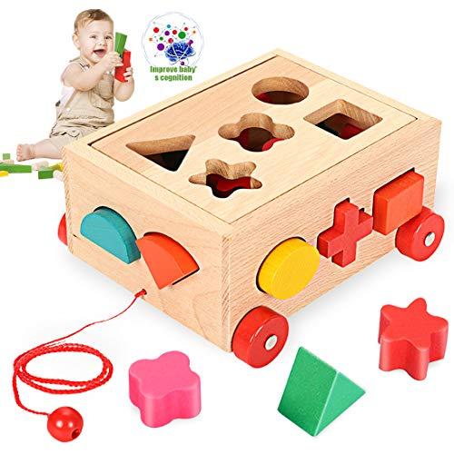 O-Kinee Steckwürfel aus Holz, Sortier Stapel Steckspielzeug Montessori Lernspielzeug, Holzsteckspiel für...