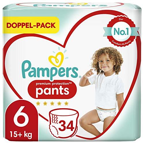 Pampers Baby Windeln Pants Größe 6 (15kg+) Premium Protection, 34 Höschenwindeln, Komfort und Schutz Für...