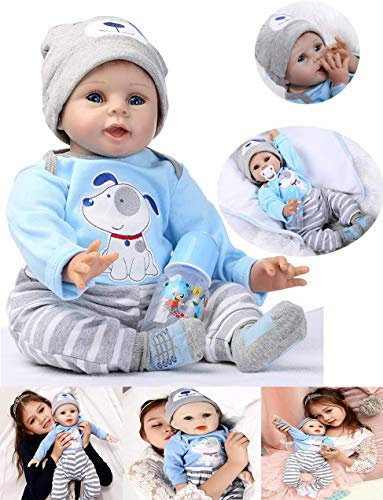 HRYEOY Handgemachtes Reborn Junge Baby Puppe Lebensechte 22 Zoll 55 cm Puppe Reborn Babys Junge Kleinkind...