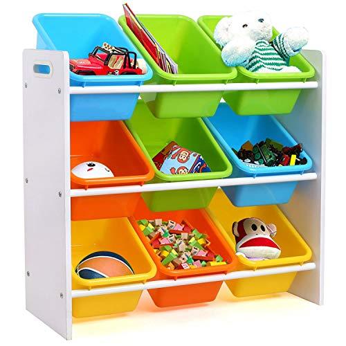 Homfa Aufbewahrungsregal Kinderregal Spielzeugregal Spielzeugkiste Kommode mit 9 Kunststoffkästen Multi Toy...