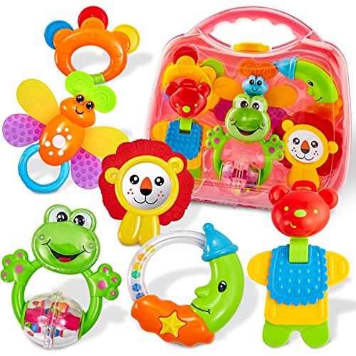 HERSITY Babyspielzeug ab 3 Monate Rassel Baby Beißring Set Greifspielzeug Neugeborene Musikspielzeug Baby...