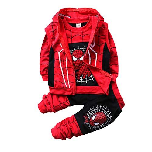 AsKong 3-teiliger Spider-Man-Anzug für Jungen, Sweatshirt, lange Hose, Reißverschlussweste, Größe 1–8...