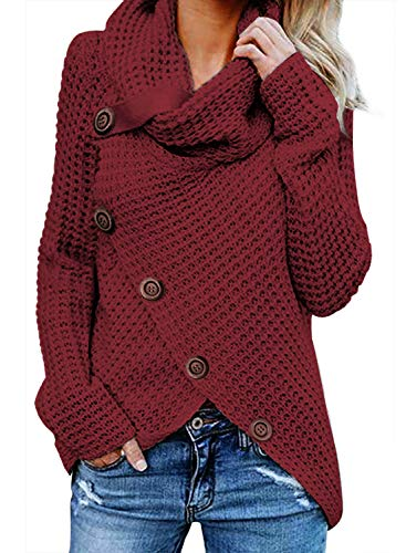 FIYOTE Damen Winterjacke Warm Strickjacke Rollkragen Cardigan Strickpullover Casual Wrap Wickel Pullover...
