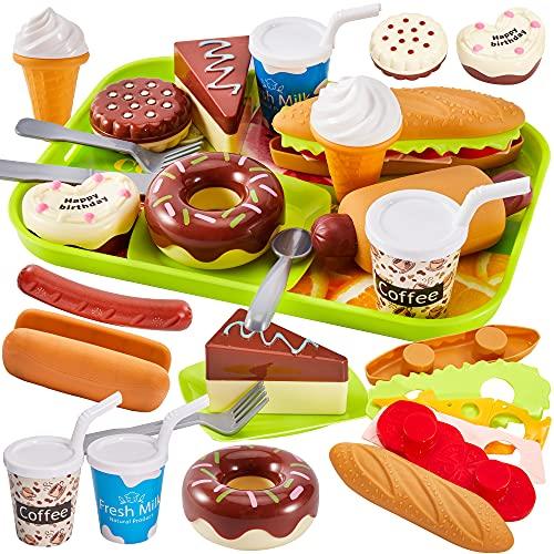 HERSITY Kinder Spielküche Zubehör, Lebensmittel Spielzeug mit Kuchen, Eiscreme und Hamburger...
