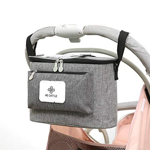 auvstar Kinderwagen Organizer,Buggy Kinderwagentasche, Universale Baby Aufbewahrungstasche mit Reißverschluss...
