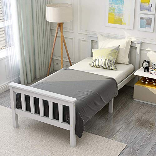 ModernLuxe Weiß Einzelbett Jugendbett 90 x 200 cm Kinderbett Holzbett aus Bettgestell mit Lattenrost und...