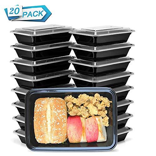 HENSHOW 1 Fach Meal Prep Container mit 20er, 1000ML Prämie Wiederverwendbar BPA Free Lunchbox mit Deckel,...