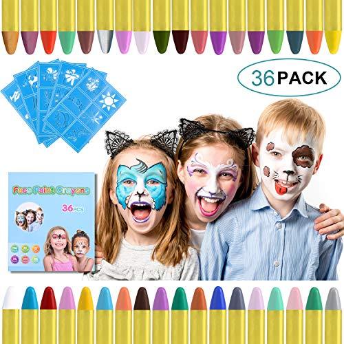 URAQT 36 Farben Kinderschminke Set Fasching,Gesichtsfarbe Schminkstifte Bodypaint Schminkpalette für...