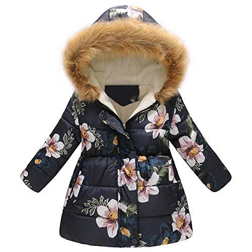 catmoew Mädchen Kleidung (3J-7J) Kind Herbst und Winter Lange Daunenjacke Blumig Blume Kapuzenjacke Plüsch...