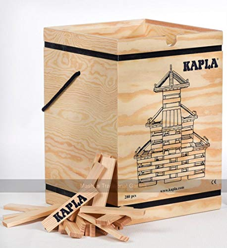 KAPLA Holzbaukasten 280 Steine in Holzkiste mit Kunstbuch