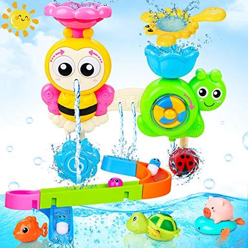 LETOMY Baby Badespielzeug, Badewannenspielzeug mit Schienen, Wandspielzeug Wasserspray & Spin, Duschgeschenk...
