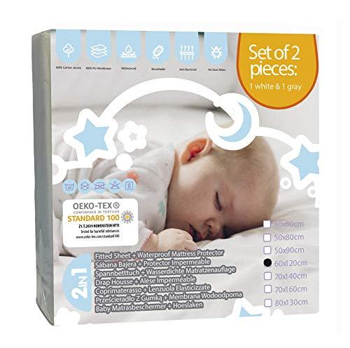 Bisoo 60x120 cm - 2 Stück Set wasserdichte Spannbettlaken für Babybett Kinderbett (Weiß + Grau) - 2in1 -...