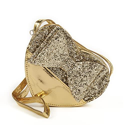 Inca. Handtasche für Mädchen in Form eines Herzens, glitzernd, goldfarben, mit Schleife, Umhängetasche für...