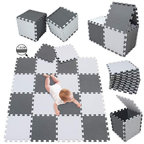 meiqicool Stylische Puzzlematte für Babys und Kinder | 1cm Dicker Spielmatte | Schadstofffrei, geruchlos,...