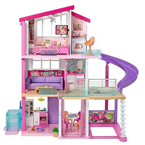 Barbie GNH53 Traumvilla Dreamhouse Adventures Puppenhaus mit 3 Etagen, 8 Zimmer, Pool mit Rutsche und...