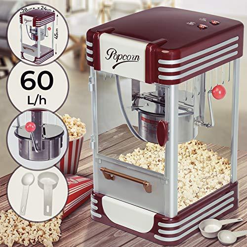 Popcornmaschine Retro - 60L/h, 200g/10min, Edelstahl Topf, für salziges Popcorn - 50er Jahre Look, Profi...