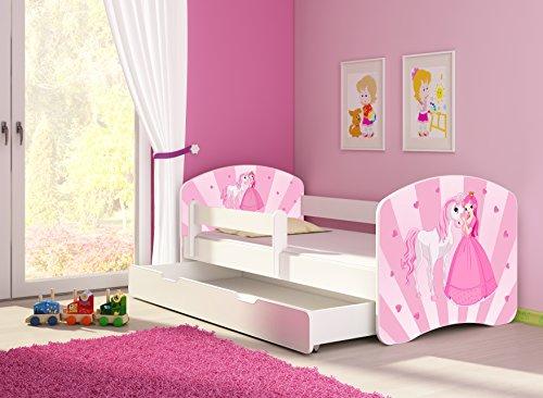 Clamaro 'Fantasia Weiß' 140 x 70 Kinderbett Set inkl. Matratze, Lattenrost und mit Bettkasten Schublade, mit...