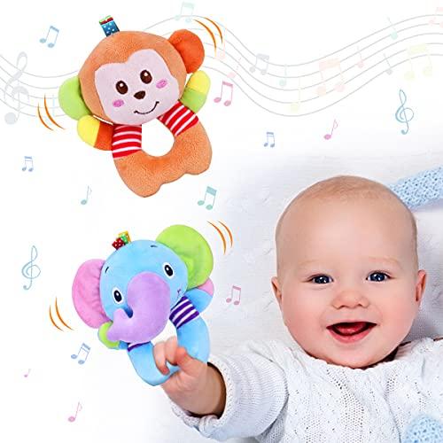 Vacoulery Greifling zum Rasseln 2 Stück Baby Rasseln Spielzeug Cartoon Tier Rassel Weiche Stoff mit Klingel...