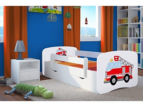 Kinderbett Jugendbett 70x140 80x160 80x180 Weiß mit Rausfallschutz Schublade und Lattenrost Kinderbetten für...