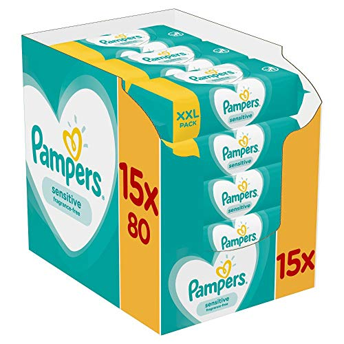 Pampers Baby Feuchttücher Sensitive, Für Empfindliche Babyhaut, Dermatologisch Getestet, 1200 Tücher (15 x...