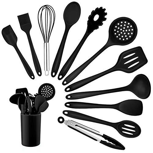 Homikit Silikon Küchenhelfer Set, 12 Stück Schwarz Kochutensilien Kochgeschirr, Hitzebeständiger...