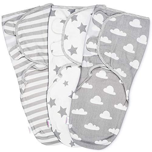 Baby Pucksack Wickel-Decke 100% Bio-Baumwolle - 3er Pack Universal Verstellbare Schlafsack Decke für...