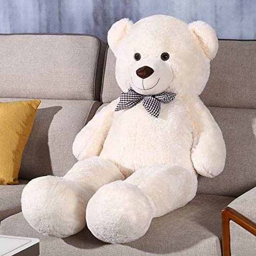FSN Riesen Teddybär Kuschelbär 120cm groß Plüschbär mit Schleife (Weiß)