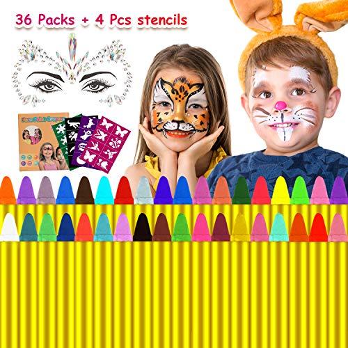 Emooqi Ostern Kinderschminke Facepainting Kinder, 36 Farben Gesichtsfarbe Face Paint, Gesichtsfarben,...