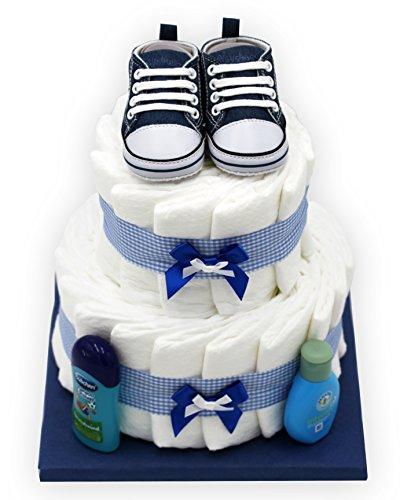 Windeltorte'Blue Shoes' für Jungen - mit süßen Babyschuhen - das perfekte Geschenk zur Geburt oder Taufe +...