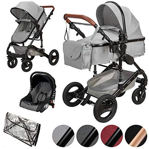 ib style® SOLE 3 in 1 Kombi Kinderwagen | inkl. Auto Babyschale | Zusammenklappbar | inkl. Regen- &...