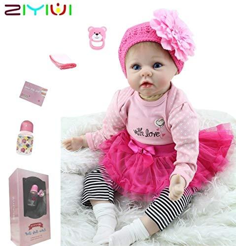 ZIYIUI Reborn Baby Mädchen 22''/55 cm Lebensecht Weiches Silikon Vinyl Reborn Baby Reborn Toddlers Mädchen...