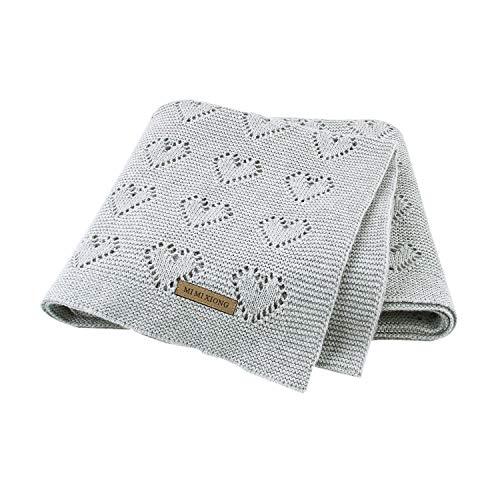 mimixiong Babydecke aus 100% Baumwolle - kuschelige Strickdecke ideal als Neugeborene, 100 x 80 cm (Grau)