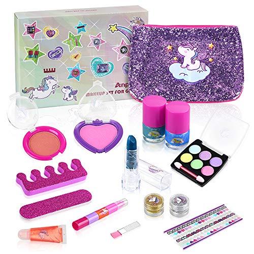 Anpro 15Stk Make-up-Set, Schminkset für Mädchen, waschbar Kosmetik Schminkspielzeug für Kinder Geschenk