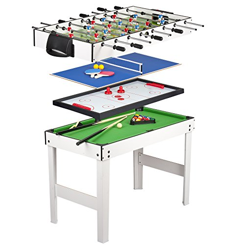 Leomark Multigame Holz Spieltisch - weiße Farbe - Tischfußball, Billard, Hockey, Tischtennis, 4in1...