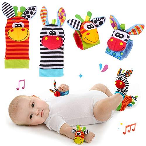 Hmjunboys Baby Rasseln Spielzeug Handgelenk Und Socken, Plüschtiere Entwicklungs-Spielzeug für Neugeborene,...